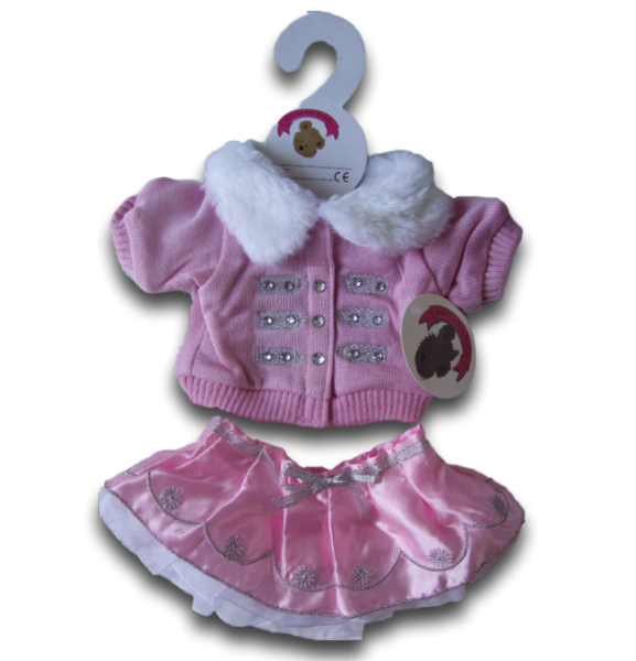 Pink Knitted Jacket with Fur trim Outfit